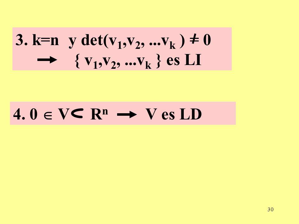 30 3. k=n y det(v 1,v 2,...v k ) = 0 { v 1,v 2,...v k } es LI 4. 0 V R n V es LD