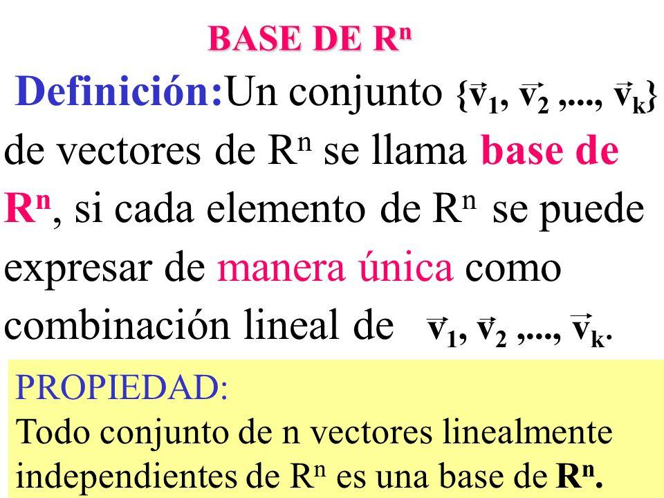 31 Definición:Un conjunto {v 1, v 2,..., v k } de vectores de R n se llama base de R n, si cada elemento de R n se puede expresar de manera única como