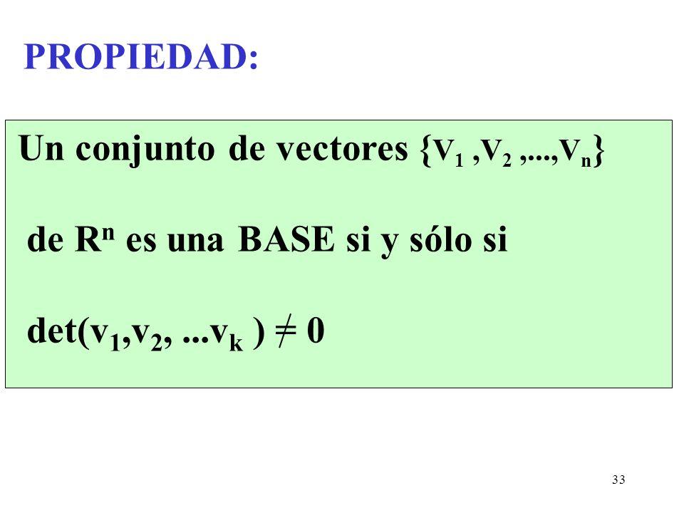33 PROPIEDAD: Un conjunto de vectores { V 1,V 2,...,V n } de R n es una BASE si y sólo si det(v 1,v 2,...v k ) = 0