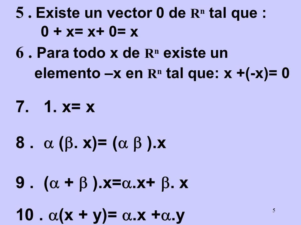 5 5. Existe un vector 0 de R n tal que : 0 + x= x+ 0= x 6. Para todo x de R n existe un elemento –x en R n tal que: x +(-x)= 0 7. 1. x= x 8. (. x)= (