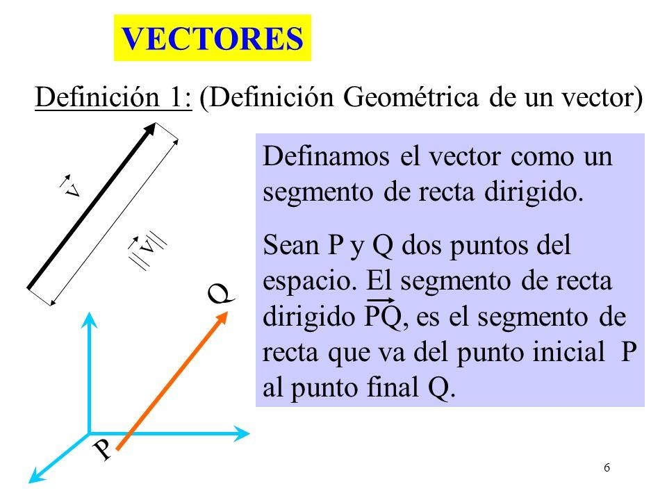 6 V V Definamos el vector como un segmento de recta dirigido. Sean P y Q dos puntos del espacio. El segmento de recta dirigido PQ, es el segmento de r