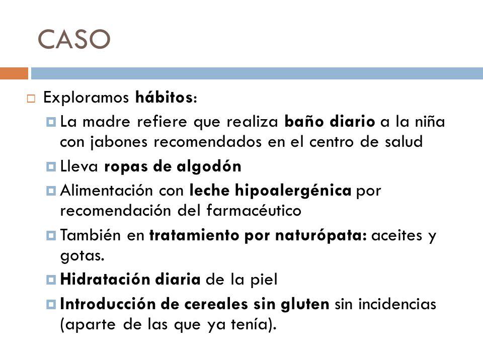 CASO Exploramos hábitos: La madre refiere que realiza baño diario a la niña con jabones recomendados en el centro de salud Lleva ropas de algodón Alim