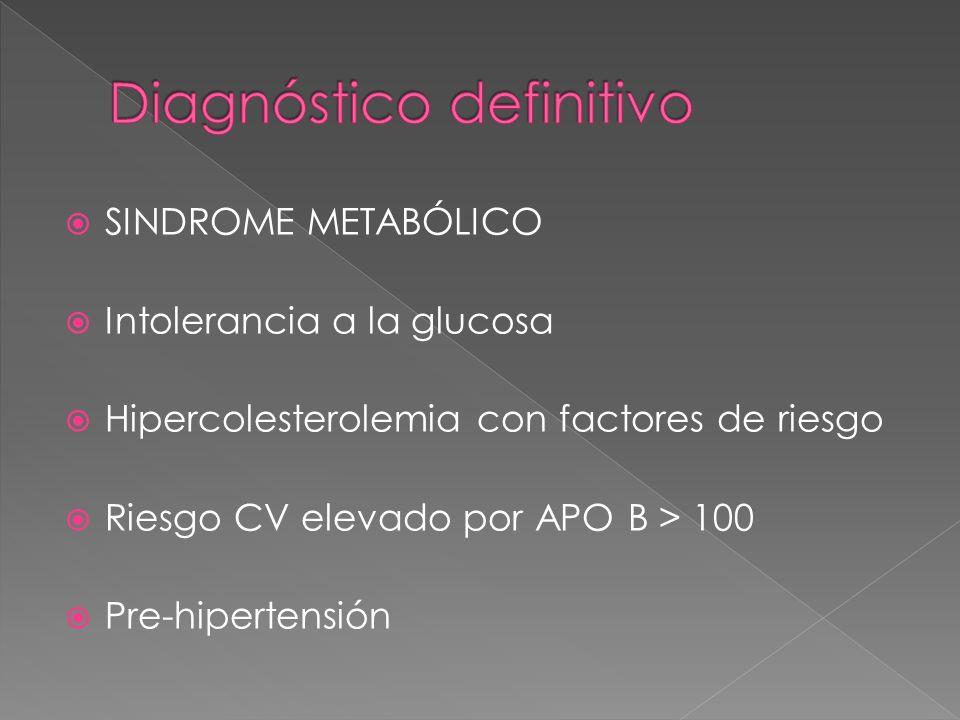 SINDROME METABÓLICO Intolerancia a la glucosa Hipercolesterolemia con factores de riesgo Riesgo CV elevado por APO B > 100 Pre-hipertensión