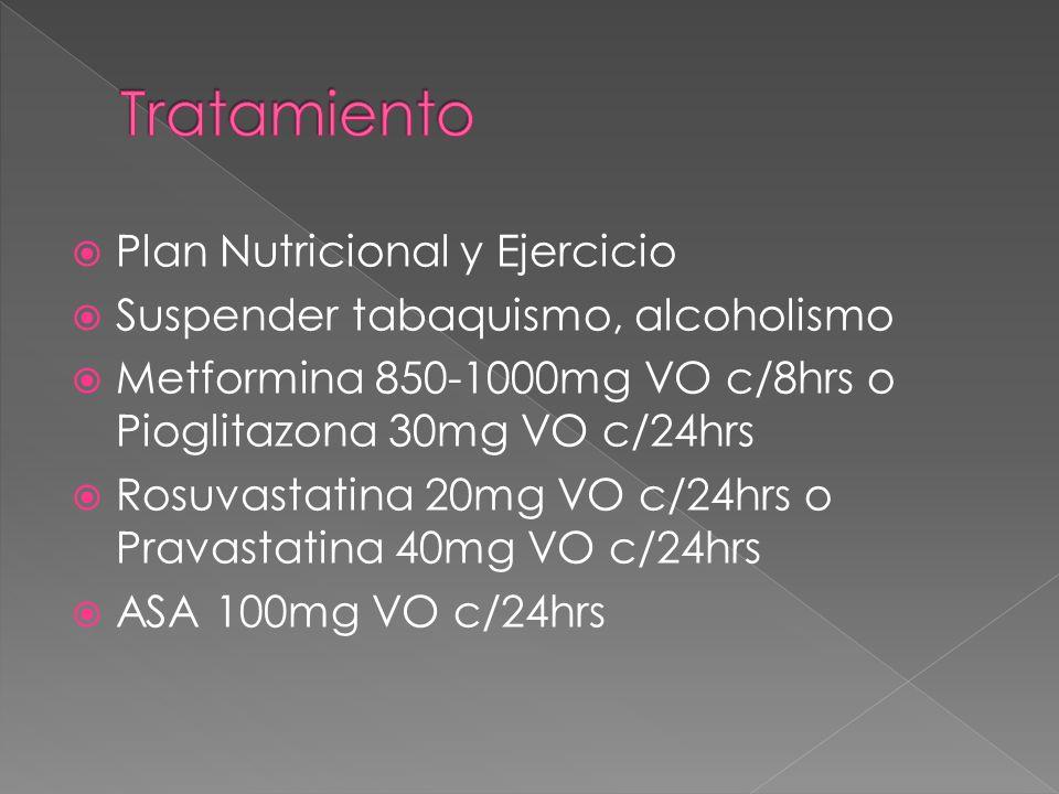 Plan Nutricional y Ejercicio Suspender tabaquismo, alcoholismo Metformina 850-1000mg VO c/8hrs o Pioglitazona 30mg VO c/24hrs Rosuvastatina 20mg VO c/