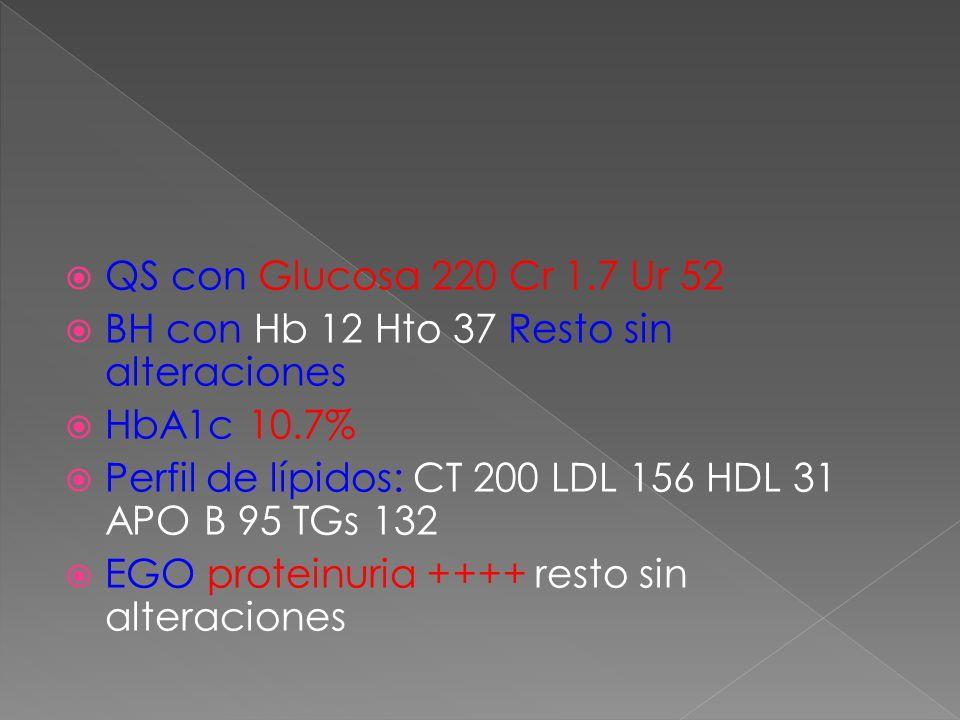 QS con Glucosa 220 Cr 1.7 Ur 52 BH con Hb 12 Hto 37 Resto sin alteraciones HbA1c 10.7% Perfil de lípidos: CT 200 LDL 156 HDL 31 APO B 95 TGs 132 EGO p