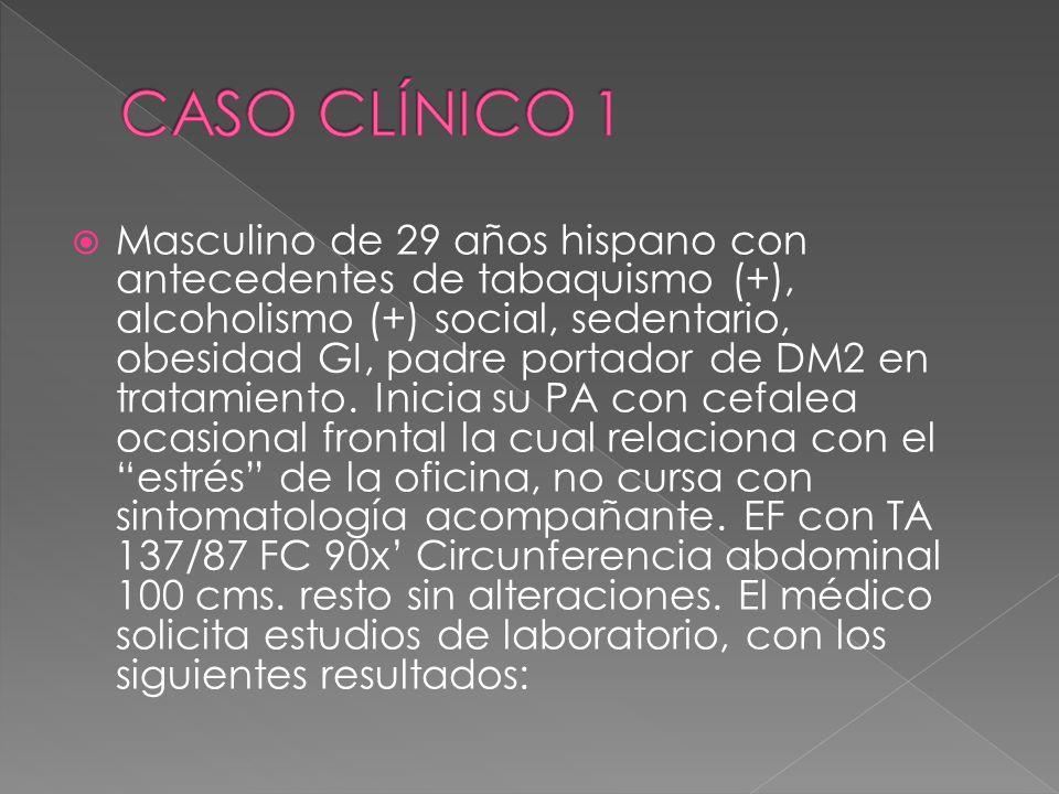 Masculino de 29 años hispano con antecedentes de tabaquismo (+), alcoholismo (+) social, sedentario, obesidad GI, padre portador de DM2 en tratamiento