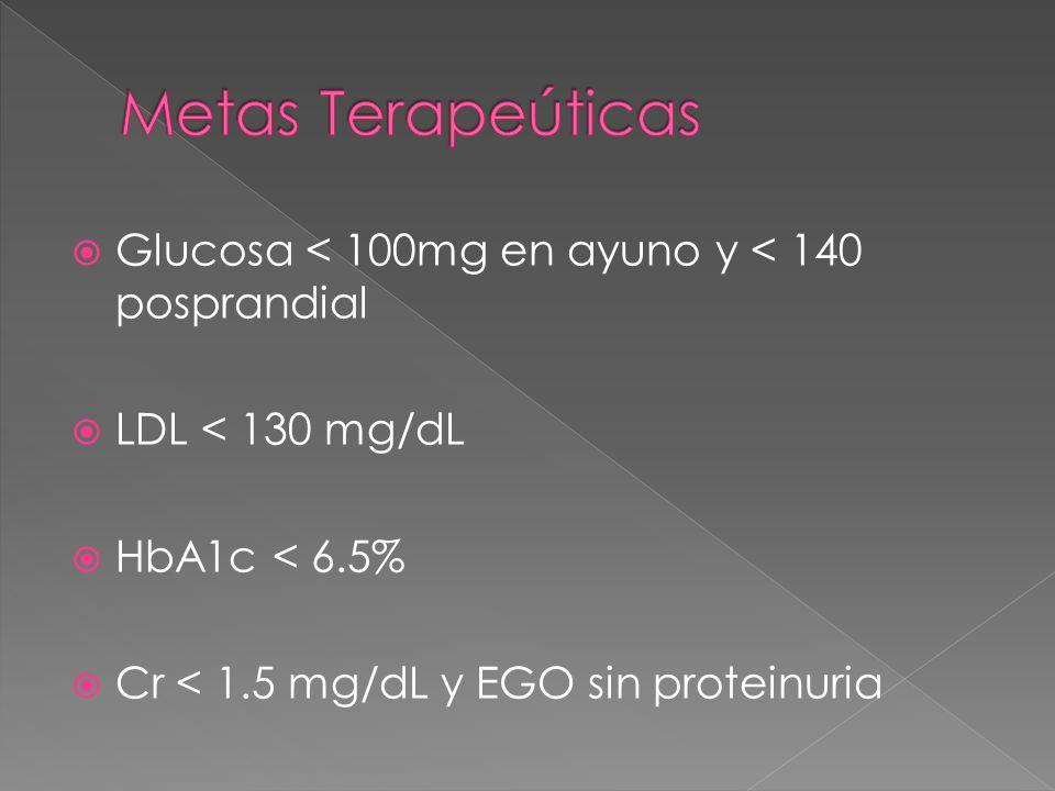 Glucosa < 100mg en ayuno y < 140 posprandial LDL < 130 mg/dL HbA1c < 6.5% Cr < 1.5 mg/dL y EGO sin proteinuria