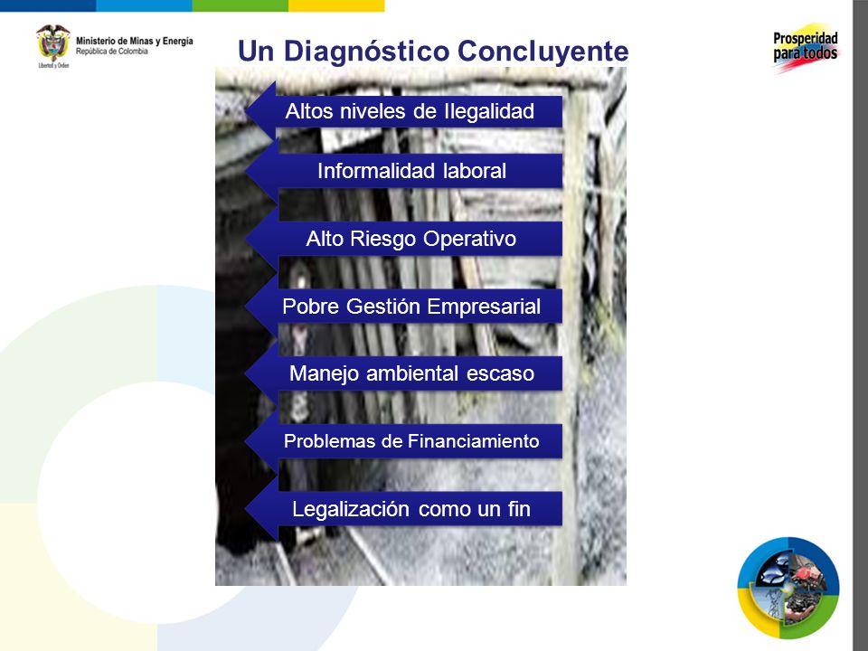 Un Diagnóstico Concluyente Altos niveles de Ilegalidad Informalidad laboral Alto Riesgo Operativo Pobre Gestión Empresarial Manejo ambiental escaso Pr
