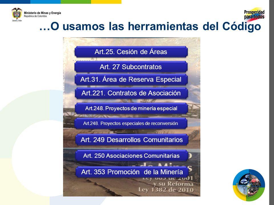 …O usamos las herramientas del Código Art.25. Cesión de Áreas Art.221. Contratos de Asociación Art.31. Área de Reserva Especial Art.248. Proyectos de
