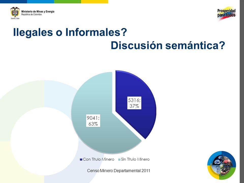 Ilegales o Informales? Discusión semántica? Censo Minero Departamental 2011