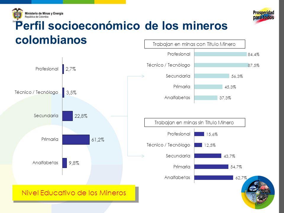 Perfil socioeconómico de los mineros colombianos Trabajan en minas con Titulo Minero Trabajan en minas sin Titulo Minero Nivel Educativo de los Minero