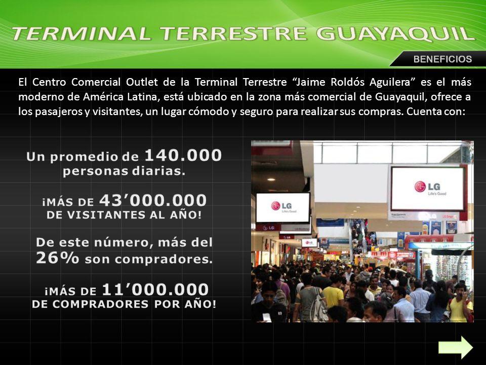 El Centro Comercial Outlet de la Terminal Terrestre Jaime Roldós Aguilera es el más moderno de América Latina, está ubicado en la zona más comercial de Guayaquil, ofrece a los pasajeros y visitantes, un lugar cómodo y seguro para realizar sus compras.