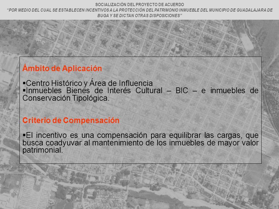 Ámbito de Aplicación Centro Histórico y Área de Influencia Inmuebles Bienes de Interés Cultural – BIC – e inmuebles de Conservación Tipológica. Criter