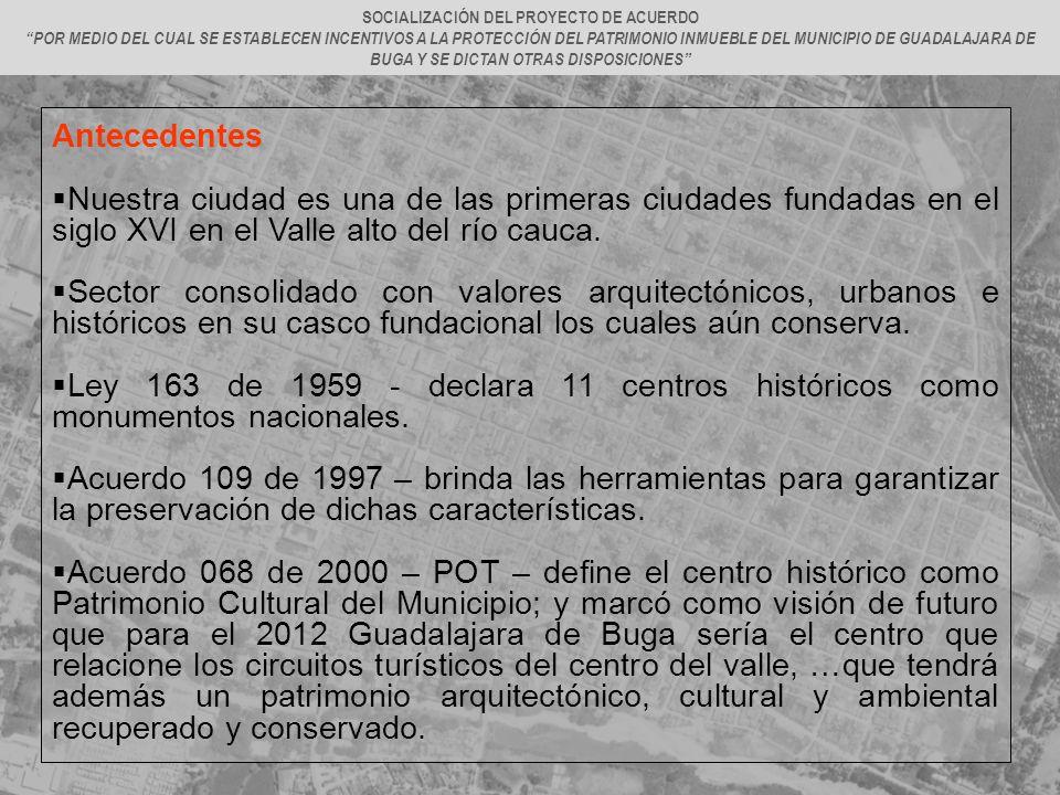 Antecedentes Nuestra ciudad es una de las primeras ciudades fundadas en el siglo XVI en el Valle alto del río cauca. Sector consolidado con valores ar