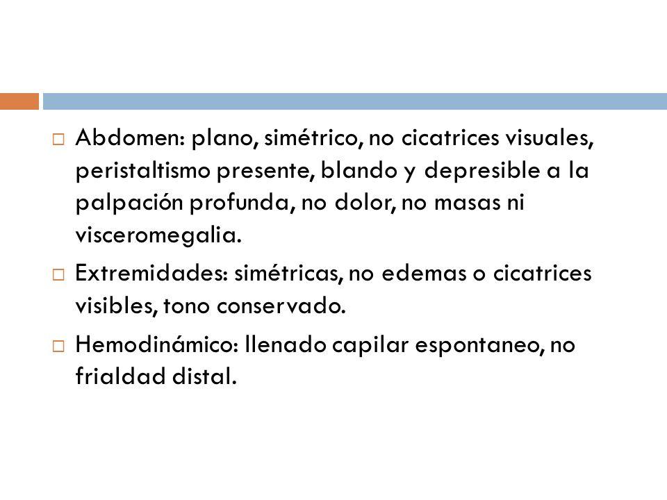 Abdomen: plano, simétrico, no cicatrices visuales, peristaltismo presente, blando y depresible a la palpación profunda, no dolor, no masas ni viscerom