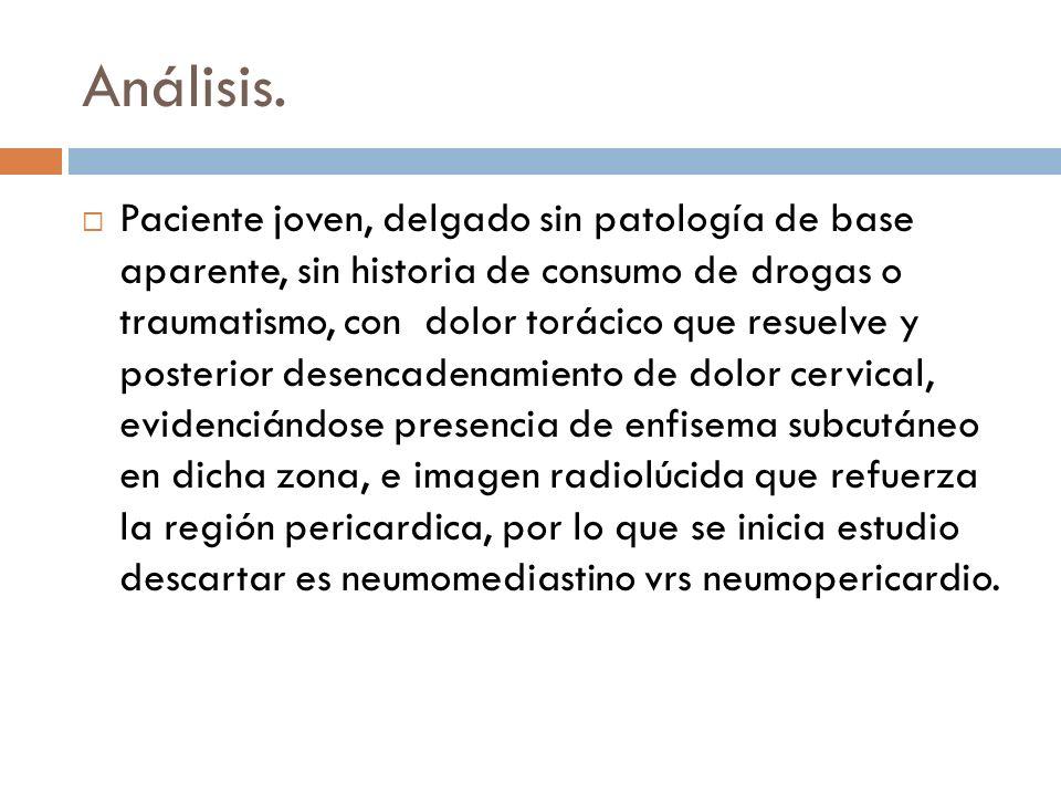 Análisis. Paciente joven, delgado sin patología de base aparente, sin historia de consumo de drogas o traumatismo, con dolor torácico que resuelve y p