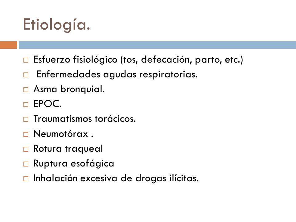 Etiología. Esfuerzo fisiológico (tos, defecación, parto, etc.) Enfermedades agudas respiratorias. Asma bronquial. EPOC. Traumatismos torácicos. Neumot