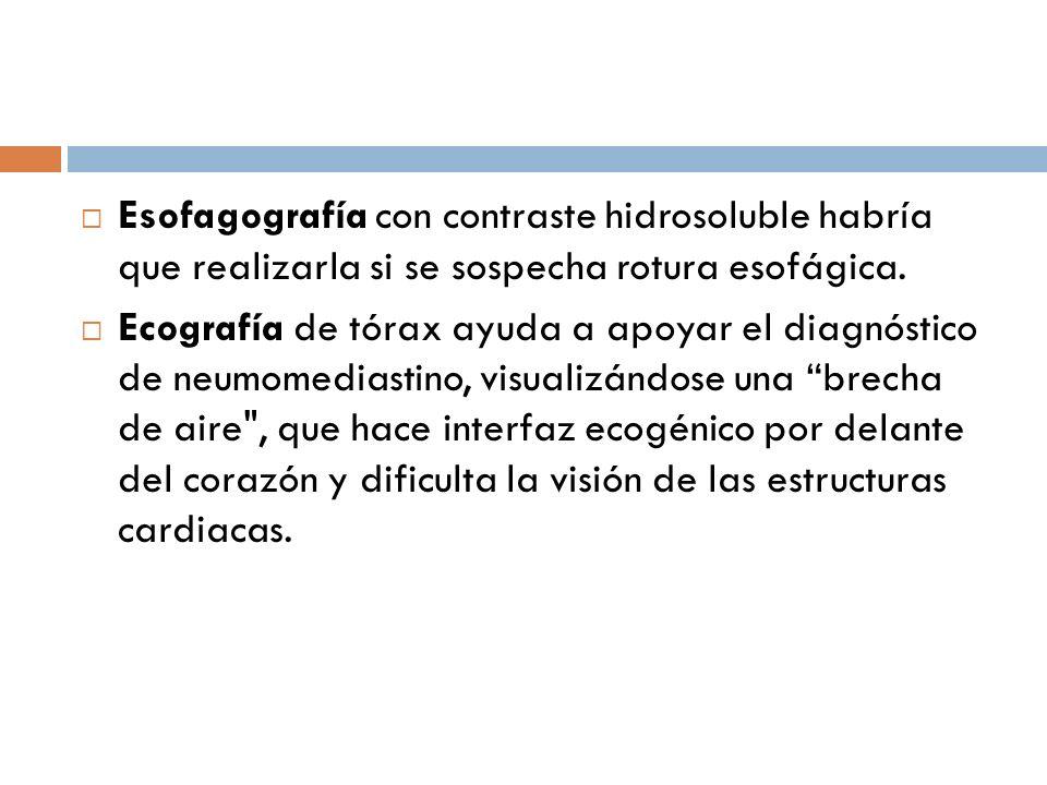Esofagografía con contraste hidrosoluble habría que realizarla si se sospecha rotura esofágica. Ecografía de tórax ayuda a apoyar el diagnóstico de ne