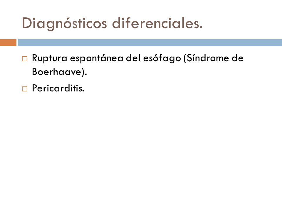 Diagnósticos diferenciales. Ruptura espontánea del esófago (Síndrome de Boerhaave). Pericarditis.
