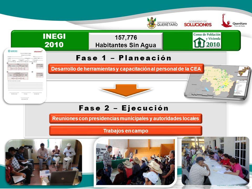 157,776 Habitantes Sin Agua 157,776 Habitantes Sin Agua INEGI 2010 Fase 1 – Planeación Desarrollo de herramientas y capacitación al personal de la CEA