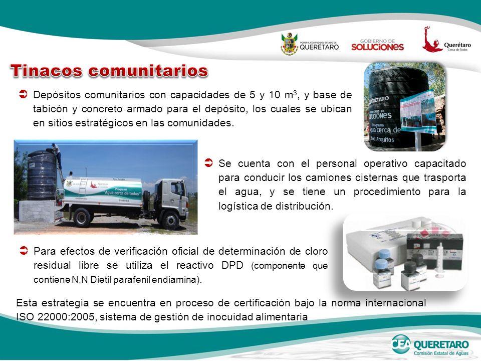 Depósitos comunitarios con capacidades de 5 y 10 m 3, y base de tabicón y concreto armado para el depósito, los cuales se ubican en sitios estratégicos en las comunidades.