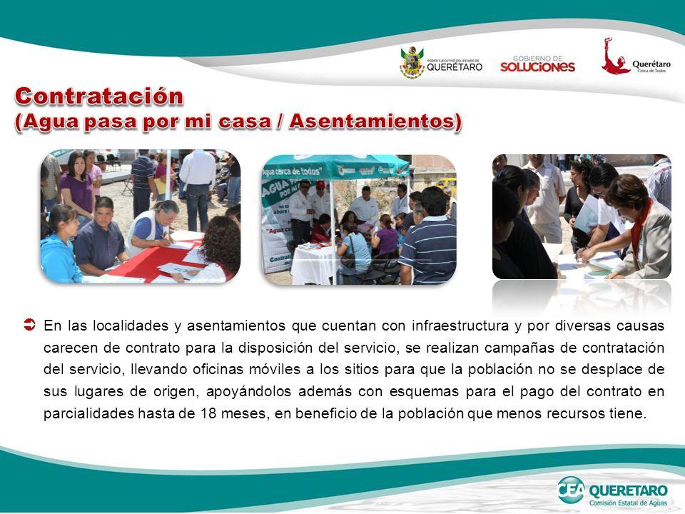 En las localidades y asentamientos que cuentan con infraestructura y por diversas causas carecen de contrato para la disposición del servicio, se real