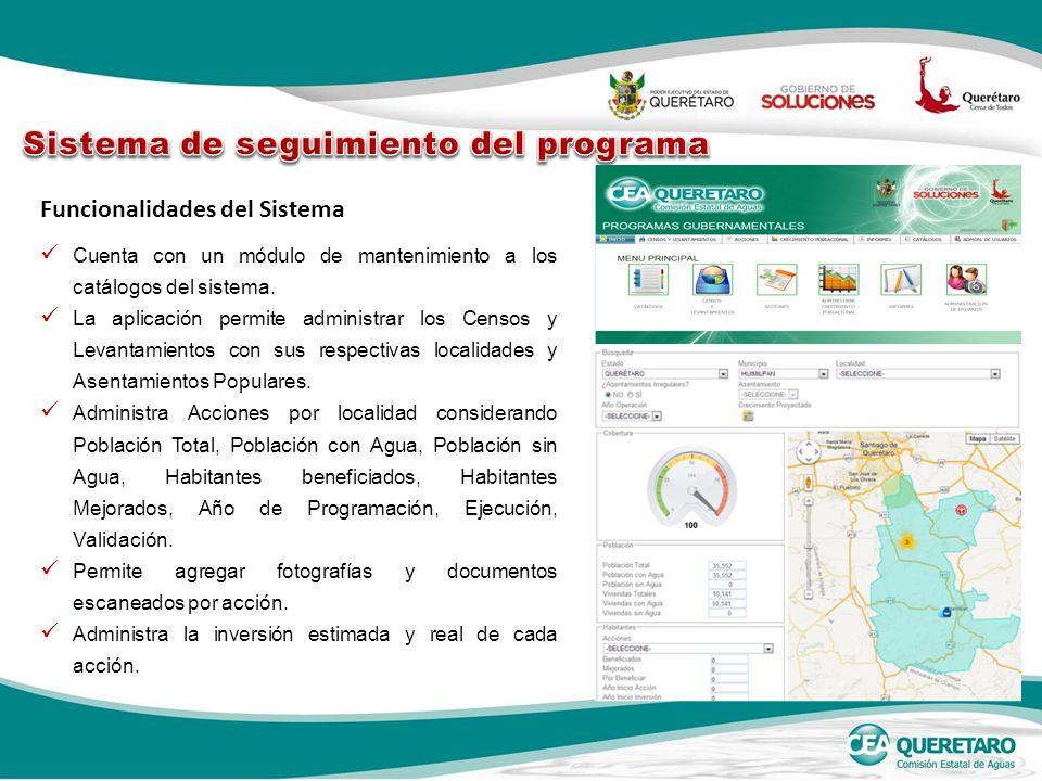 Funcionalidades del Sistema Cuenta con un módulo de mantenimiento a los catálogos del sistema. La aplicación permite administrar los Censos y Levantam
