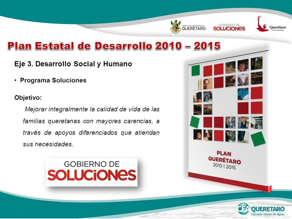 Programa Soluciones Eje 3. Desarrollo Social y Humano Objetivo: Mejorar integralmente la calidad de vida de las familias queretanas con mayores carenc