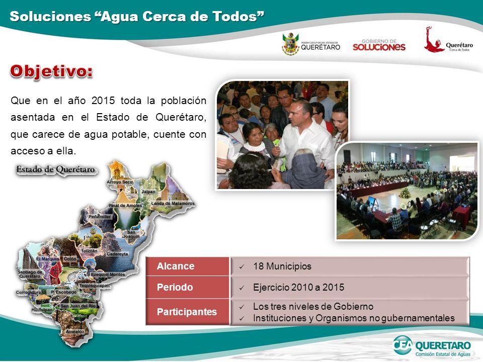 Que en el año 2015 toda la población asentada en el Estado de Querétaro, que carece de agua potable, cuente con acceso a ella. Soluciones Agua Cerca d