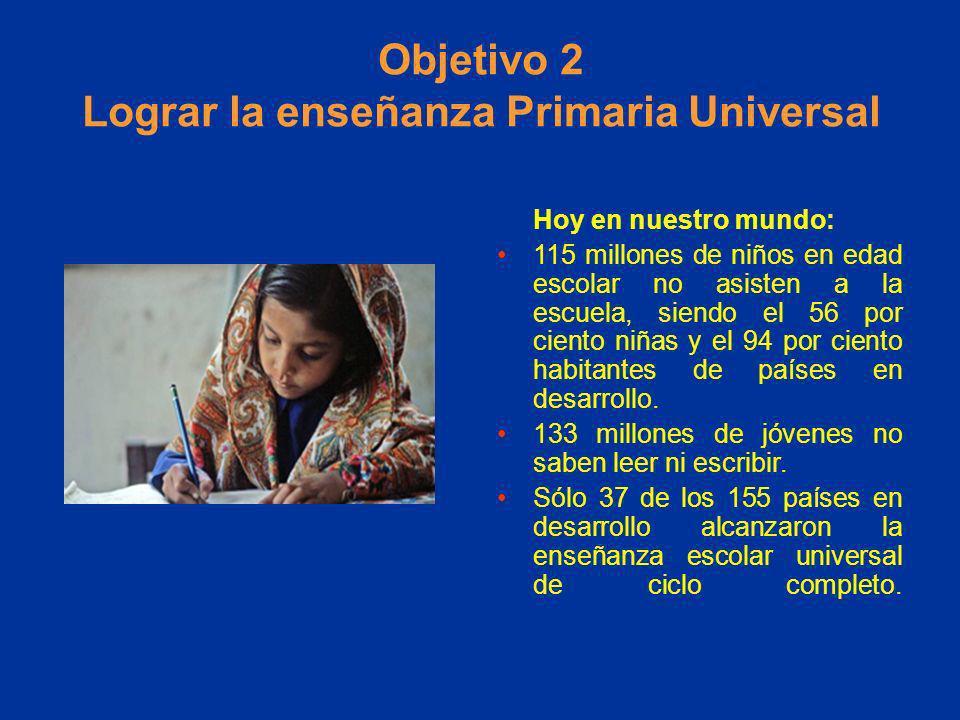 Objetivo 2 Lograr la enseñanza Primaria Universal Hoy en nuestro mundo: 115 millones de niños en edad escolar no asisten a la escuela, siendo el 56 po