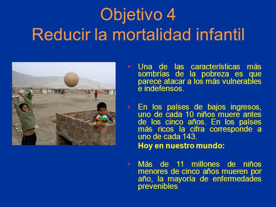 Objetivo 4 Reducir la mortalidad infantil Una de las características más sombrías de la pobreza es que parece atacar a los más vulnerables e indefenso