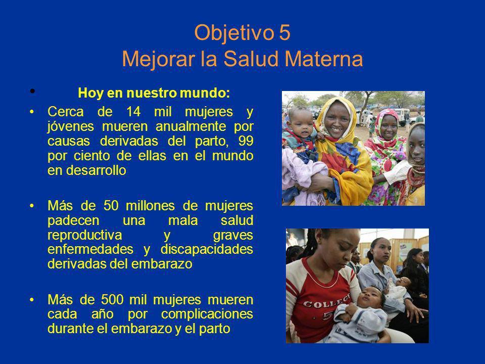 Objetivo 5 Mejorar la Salud Materna Hoy en nuestro mundo: Cerca de 14 mil mujeres y jóvenes mueren anualmente por causas derivadas del parto, 99 por c