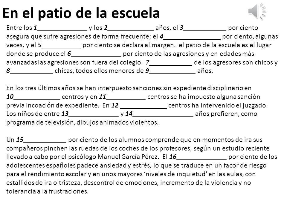 2 Contesta las preguntas Según el texto, ¿cuáles son los principales factores que llevan a conductas agresivas dentro de la escuela.