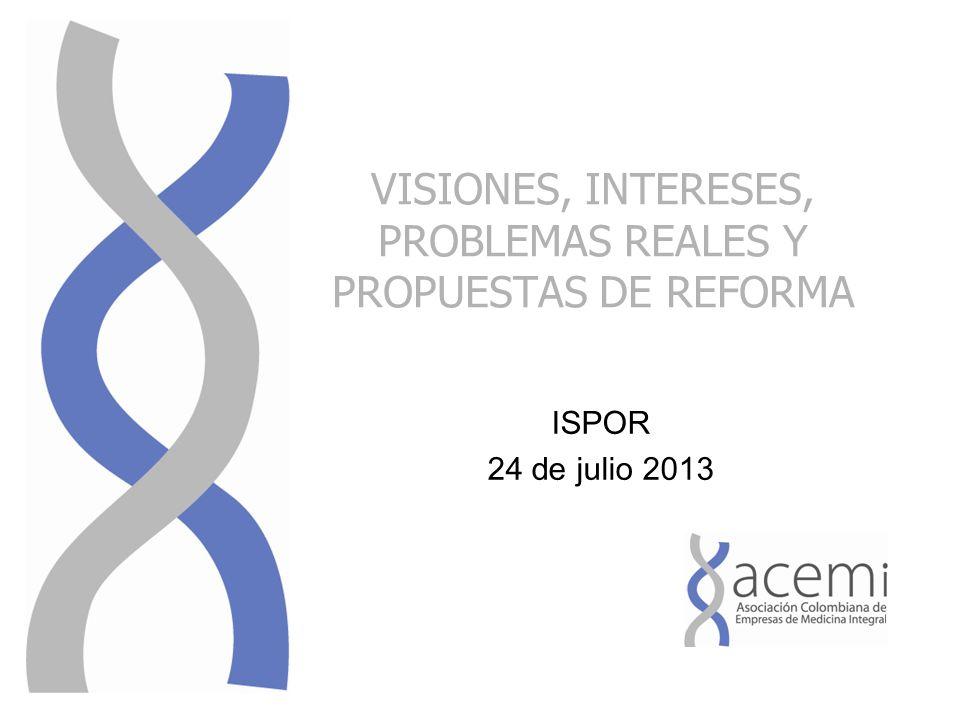 VISIONES, INTERESES, PROBLEMAS REALES Y PROPUESTAS DE REFORMA ISPOR 24 de julio 2013