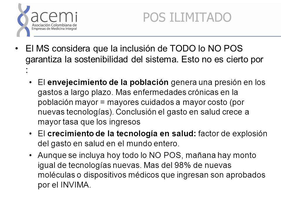 POS ILIMITADO El MS considera que la inclusión de TODO lo NO POS garantiza la sostenibilidad del sistema.