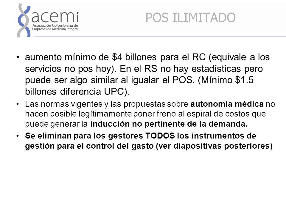 POS ILIMITADO aumento mínimo de $4 billones para el RC (equivale a los servicios no pos hoy).