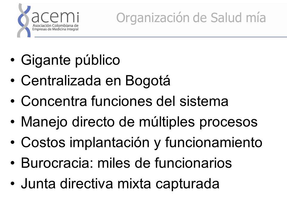 Organización de Salud mía Gigante público Centralizada en Bogotá Concentra funciones del sistema Manejo directo de múltiples procesos Costos implantación y funcionamiento Burocracia: miles de funcionarios Junta directiva mixta capturada
