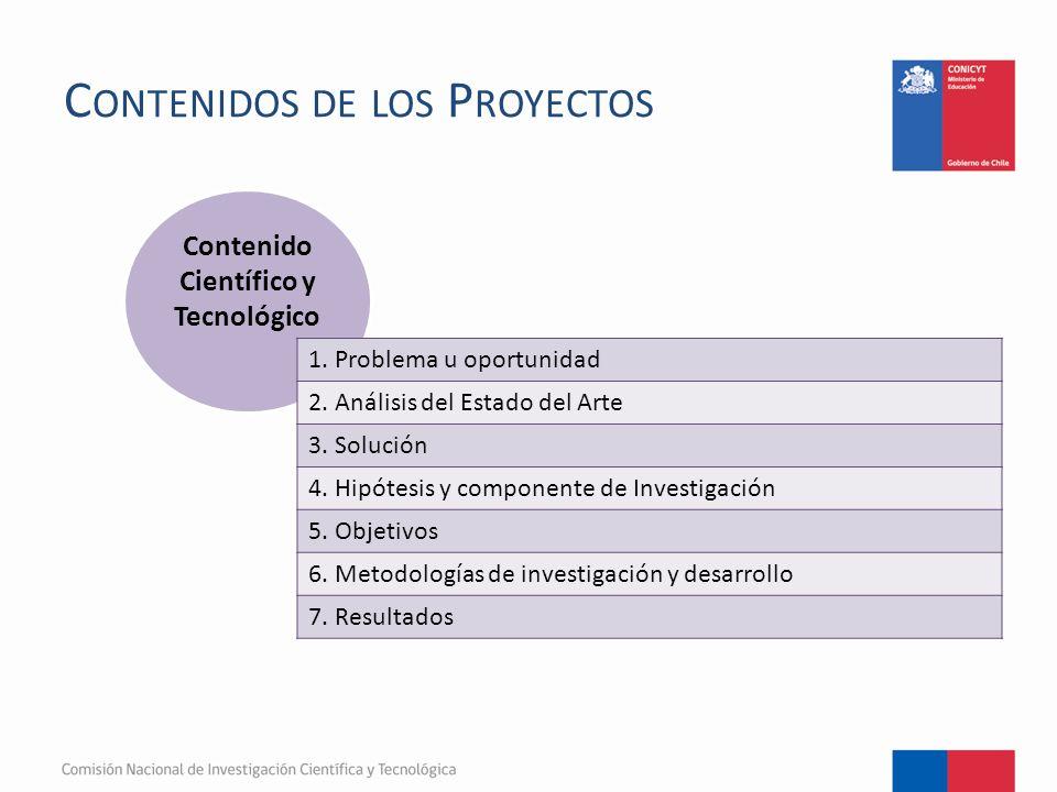C ONTENIDOS DE LOS P ROYECTOS Contenido Científico y Tecnológico 1.