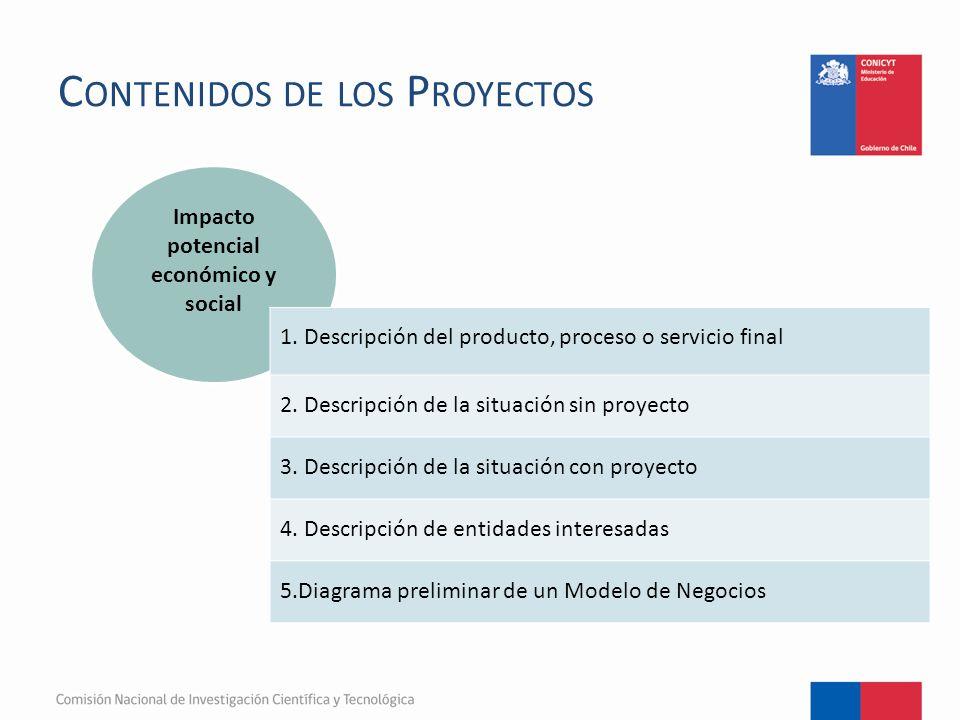 C ONTENIDOS DE LOS P ROYECTOS Impacto potencial económico y social 1.