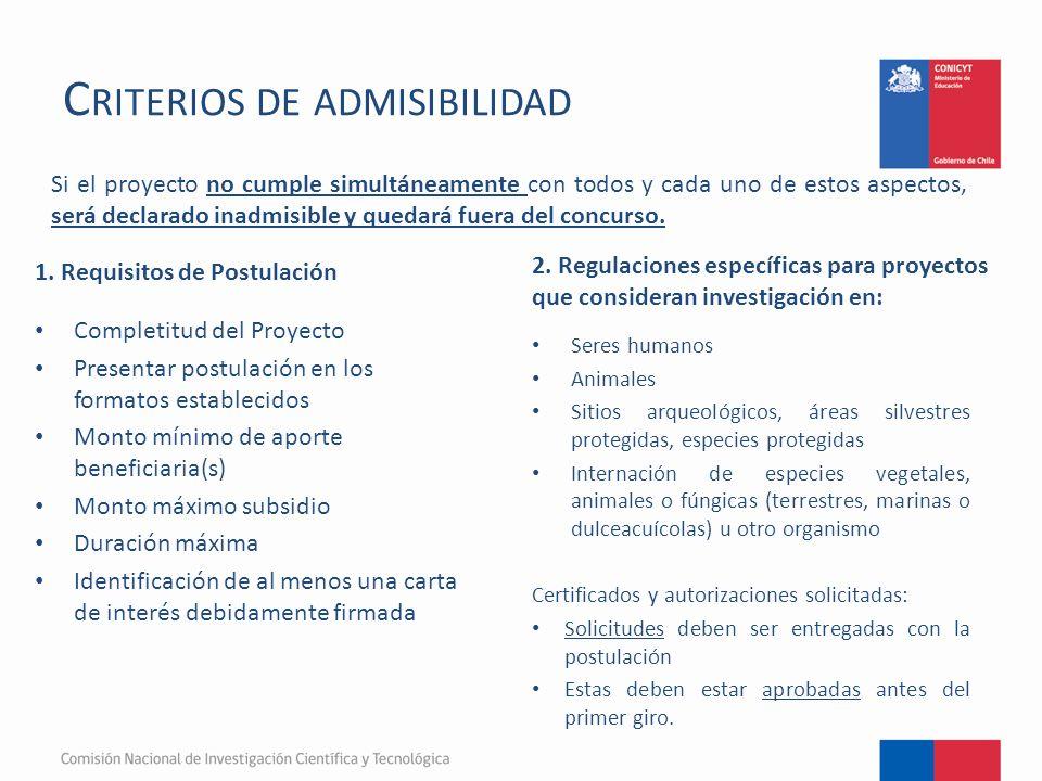 C RITERIOS DE ADMISIBILIDAD 1.