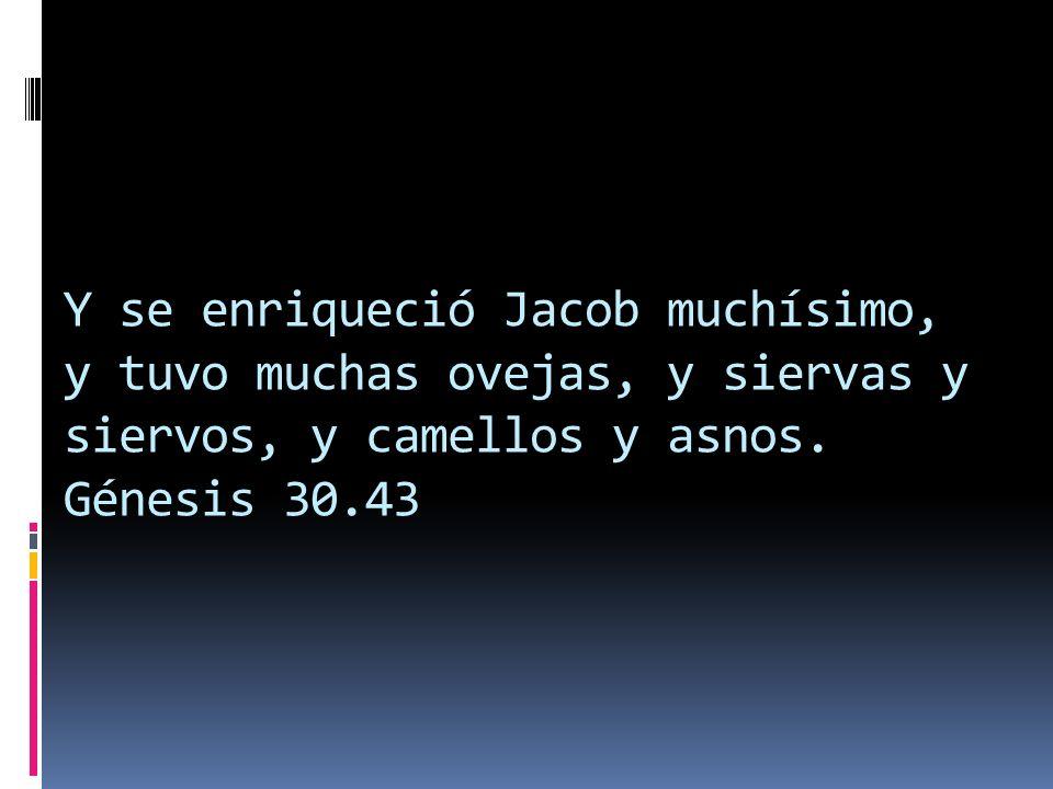 Y se enriqueció Jacob muchísimo, y tuvo muchas ovejas, y siervas y siervos, y camellos y asnos. Génesis 30.43