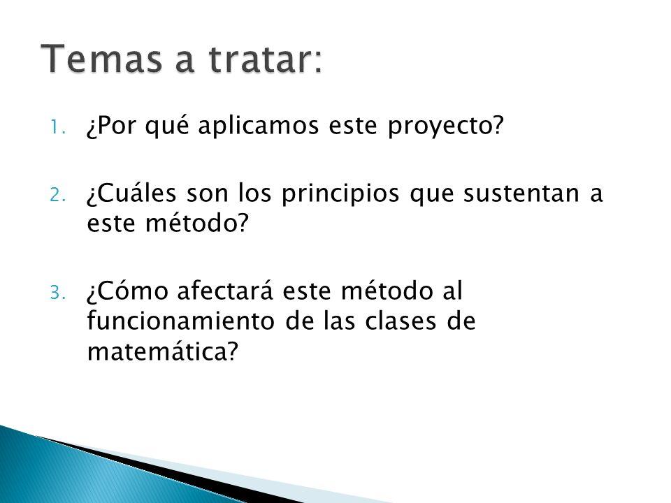 1.¿Por qué aplicamos este proyecto. 2. ¿Cuáles son los principios que sustentan a este método.