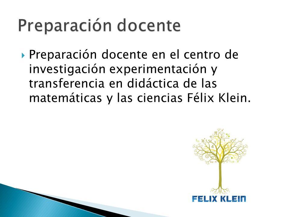 Preparación docente en el centro de investigación experimentación y transferencia en didáctica de las matemáticas y las ciencias Félix Klein.