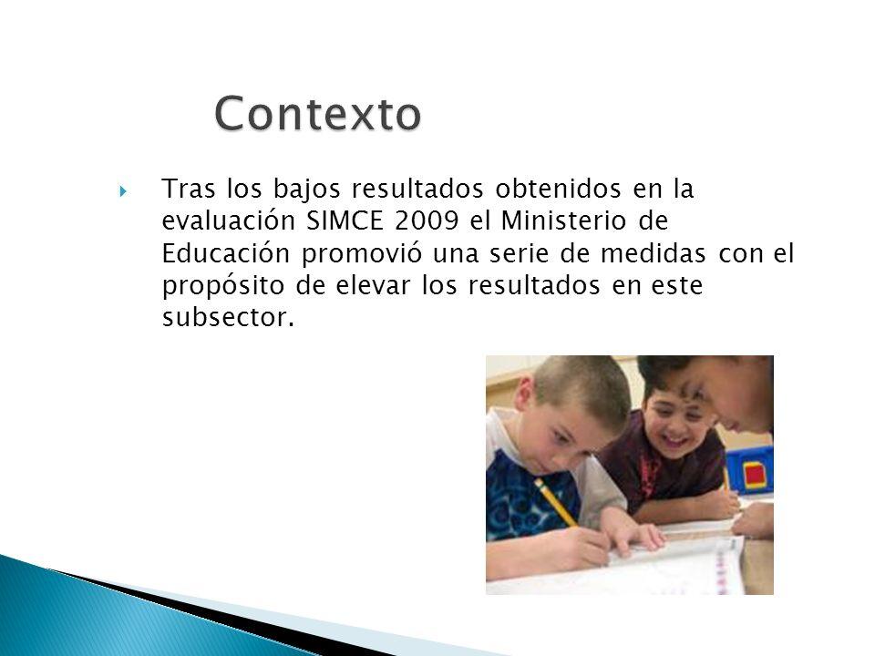 Contexto Tras los bajos resultados obtenidos en la evaluación SIMCE 2009 el Ministerio de Educación promovió una serie de medidas con el propósito de elevar los resultados en este subsector.