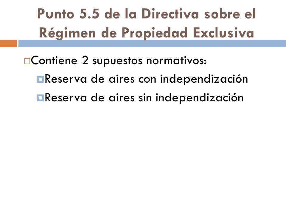 Punto 5.5 de la Directiva sobre el Régimen de Propiedad Exclusiva Contiene 2 supuestos normativos: Reserva de aires con independización Reserva de air