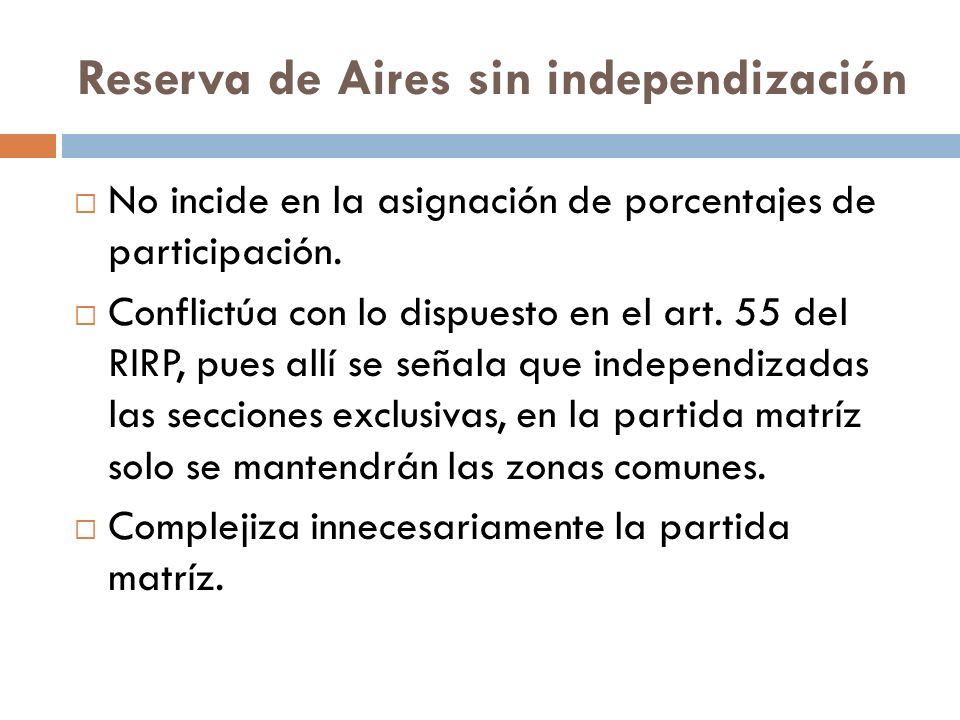 No incide en la asignación de porcentajes de participación. Conflictúa con lo dispuesto en el art. 55 del RIRP, pues allí se señala que independizadas