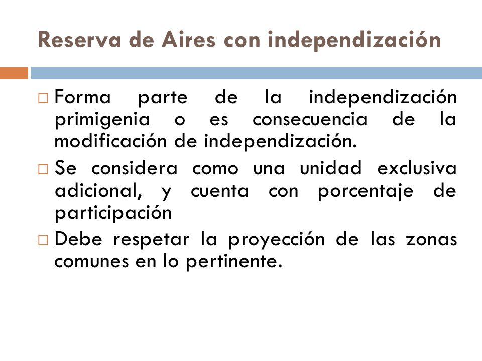Reserva de Aires con independización Forma parte de la independización primigenia o es consecuencia de la modificación de independización. Se consider