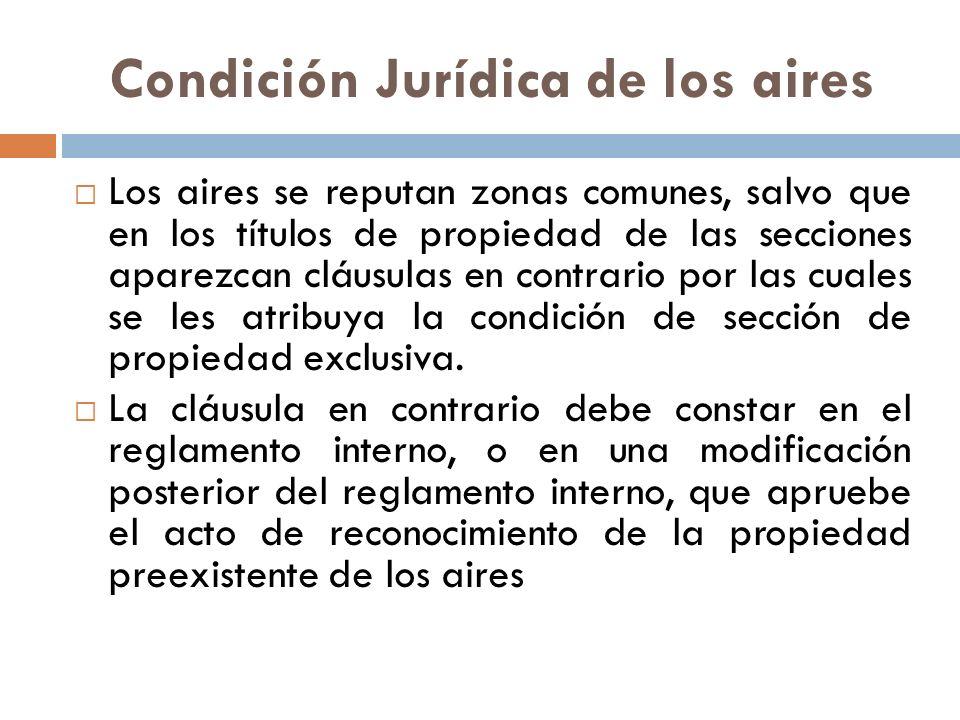 Condición Jurídica de los aires Los aires se reputan zonas comunes, salvo que en los títulos de propiedad de las secciones aparezcan cláusulas en cont