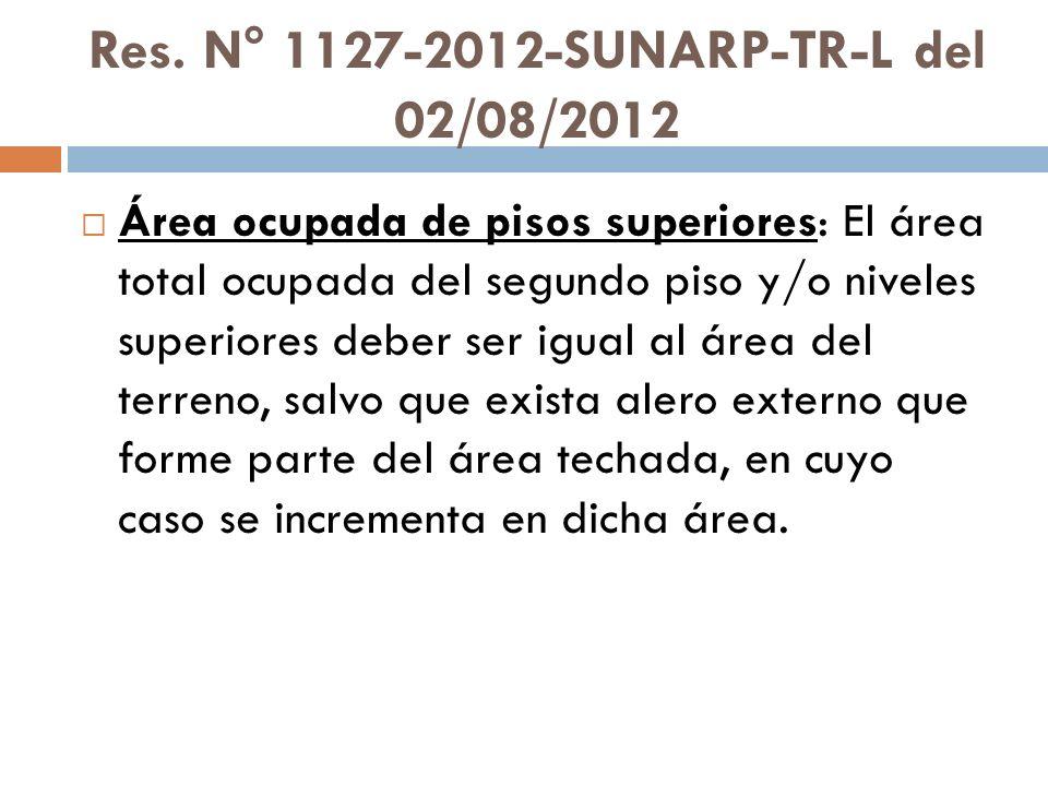 Res. N° 1127-2012-SUNARP-TR-L del 02/08/2012 Área ocupada de pisos superiores: El área total ocupada del segundo piso y/o niveles superiores deber ser