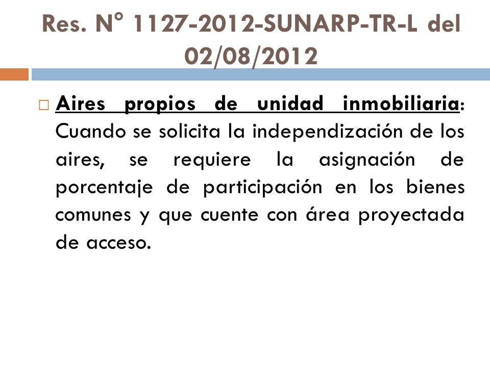 Res. N° 1127-2012-SUNARP-TR-L del 02/08/2012 Aires propios de unidad inmobiliaria: Cuando se solicita la independización de los aires, se requiere la